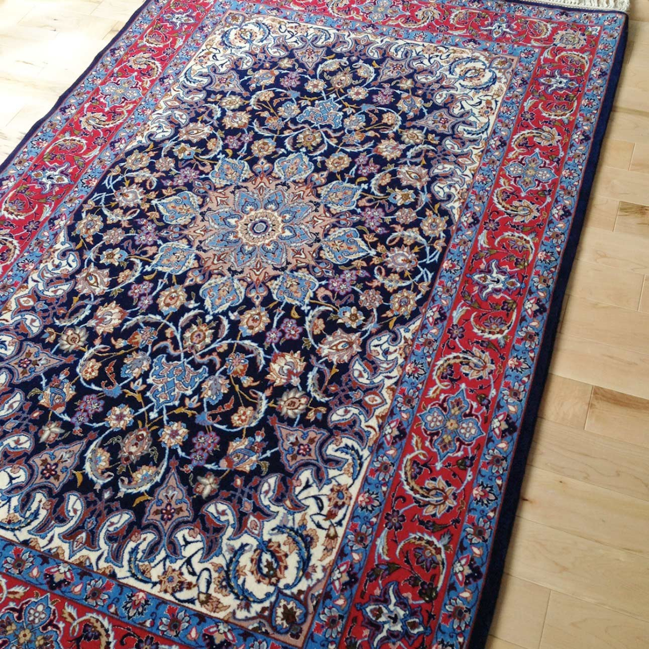 Persian Isfahan Rug Wool Silk 3 8